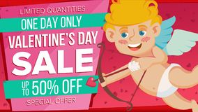 Valentine s Day Sale Banner Vector. Cute Amour. Template Design For February 14 Poster, Brochure, Card, Shop Discount. Valentine s Day Sale Banner Vector. Happy Royalty Free Stock Photo