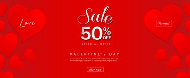 Valentine`s day sale banner vector template, Valentines Heart sale tags, web banner design, Discount card, promotion, flyer. Layout, ad, advertisement, printing vector illustration