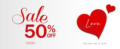 Valentine`s day sale banner vector template, Valentines Heart sale tags, web banner design, Discount card, promotion, flyer. Layout, ad, advertisement, printing stock illustration