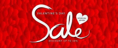 Valentine`s day sale banner vector template, Valentines Heart sale tags, web banner design. Discount card, promotion, flyer layout, ad, advertisement, printing vector illustration