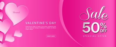 Valentine`s day sale banner vector template, Valentines Heart sale tags, web banner design, Discount card. Promotion, flyer layout, ad, advertisement, printing stock illustration