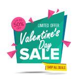 Valentine s Day Sale Banner Vector. Website Sticker, February 14 Web Page Design. Big Super Sale. Online Sales Concept. Valentine s Day Sale Banner Vector Stock Illustration