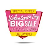 Valentine s Day Sale Banner Vector. Website Sticker, Love Web Page Design. February 14 Product Discounts On Websites. Valentine s Day Sale Banner Vector Vector Illustration