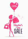Valentine's day sale banner with woman holding shopping bags. Royalty Free Stock Images