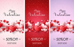 Valentine`s day sale banners Stock Photos