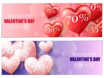 Valentine`s day sale banners Stock Image