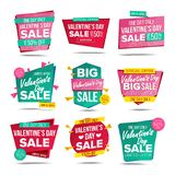 Valentine s Day Sale Banners Set Vector. Up To 50 Percent Off Badge. Love Sale Poster. February 14 Discounts Poster. Valentine s Day Sale Banner Vector. Website stock illustration