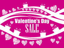 Valentine`s Day sale, beautiful background with hearts and gift boxes. Vector Royalty Free Stock Image
