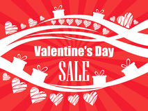 Valentine`s Day sale, beautiful background with hearts and gift boxes. Vector Stock Images