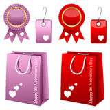 Valentine s Day Sale Collection. Collection of St. Valentines or Saint Valentine s Day sale elements: shopping bags, award ribbons and gift tags in two different Royalty Free Stock Photography