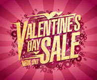 Valentine`s day sale design, text vector banner with percents. And rays Royalty Free Stock Images