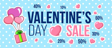 Valentine`s day sale and discount ad. Hearts on polka dot background. Vector illustration. Valentine`s day sale ad. Hearts on polka dot background. Vector Royalty Free Stock Photography