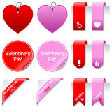 Valentine s Day Sale Elements Set. Collection of St. Valentines or Saint Valentine s Day sale elements: gift tags, labels, bookmarks, stickers and corner ribbons Stock Images