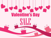 Valentine`s Day sale. Hanging hearts and gift boxes. Vector. Illustration Royalty Free Stock Photo