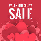 Valentine's Day sale. Letters with hearts valentine background and reflection. Stock Image