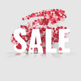 Valentine's Day sale. Letters with hearts valentine background and reflection Royalty Free Stock Images