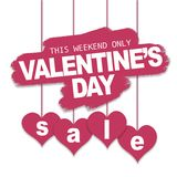 Valentine`s day sale offer, banner template vector illustration