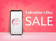 Valentine`s day sale offer, banner template. Pink heart with lettering,  on blue background. Valentines Heart. Sale tags. Shop market poster design. Vector Stock Photo