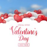 Valentine s day sale offer, banner template. Red 3d glossy heart balloon with text. Valentine s day sale offer, square web banner template. Red 3d glossy heart Stock Image
