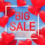 Valentine s day sale offer, banner template. Red 3d glossy heart balloon with text. Valentine s day sale offer, cute square web banner template. Red 3d glossy Royalty Free Stock Photo