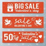 Valentine`s day sale offer, banner template.Shopping market post Stock Photo