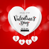 Valentine`s day sale offer, banner template. white hanging heart with lettering. Isolated on red background. Valentines Heart sale tags. Shop market poster Stock Photos