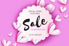 Valentine`s day sale offer, banner template. White heart in paper cut style on pink background. Circle wave frame. Text. Shop market poster design. Romantic Vector Illustration