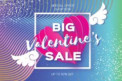 Valentine`s day sale offer. Big sale. Origami angel wings. Romantic pink heart in paper cut style. Square frame. Text. Voucher discount. Gradient Future Stock Photo