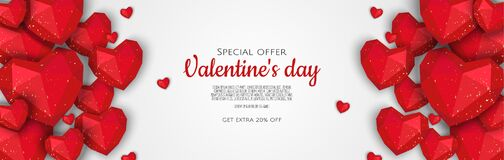 Free Valentine S Day Sale Poster Or Banner With Hearts. Promotion And Shopping Template Or Background For Love And Valentine Stock Images - 211909014