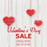 Valentine`s Day sale poster with red hearts on wooden texture. Vector. Valentine`s Day sale poster with red hearts on wooden texture. Vector vector illustration