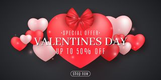 Valentine`s Day Sale. Romantic 3D hearts on a black background. Big heart with ribbon and bow. Special offer. For your business. Advertising. Romantic stock illustration