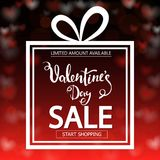 Valentine`s Day sale. Square banner in form of gift. Red background with transparent hearts.  Stock Images