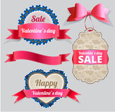 Valentine's Day Sale Tag and Banner Collection Stock Images