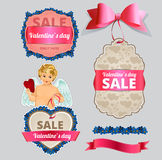 Valentine's Day Sale Tag and Banner Collection stock illustration