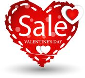 Valentine s Day Sale Tage. A heart shape tag for an advertising a valentine`s day sale stock illustration
