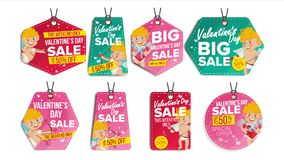Valentine s Day Theme Sale Tags Vector. Flat Paper Hanging Love Stickers. Cupid. February 14 Discount Hanging Banners Stock Photography