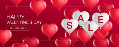 Valentine`s day sale,Template Banner,Hearts Balloons  Stock Photography