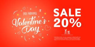 Valentine`s day sale text with gift. The banner can be used in mailings, magazine promotions. There is a place text Stock Photos