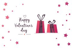 Valentine`s day sale text with gift. The banner can be used in mailings, magazine promotions. There is a place text Royalty Free Stock Images