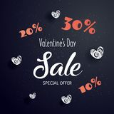 Valentine`s day sale text with gift. Crazy discounts. The banner can be used in mailings, magazine promotions. There is a place text Stock Photos