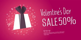 Valentine`s day sale text with gift. The banner can be used in mailings, magazine promotions. There is a place text Royalty Free Stock Photo