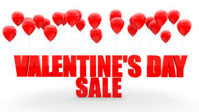 Valentine's day sale text with red balloons Royalty Free Stock Image