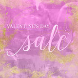 Valentine`s Day Sale. Vintage background texture. Artsy bohemian style. Digital Paper in purple with glitter, gold and watercolor stains. Perfect for royalty free illustration