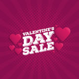 Valentine`s Day Sale Vintage comics retro Background With Hearts. Vector illustration Royalty Free Stock Photography