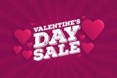 Valentine`s Day Sale Vintage comics retro Background With Hearts Stock Photo