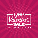 Valentine`s Day Sale Vintage comics retro Background With Hearts Stock Image