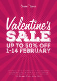 Valentine`s Day Sale. Vintage comics retro Background With Hearts Royalty Free Stock Photos