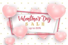Valentine`s Day sale web banner, flyer concept. Pink cute balloons in shape of heart randomly flying over white background, gold dots pattern, realistic Stock Photo