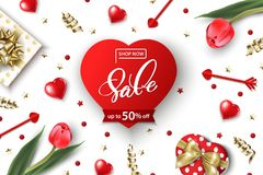 Valentine`s Day sale web banner. Top view on composition with gift box, red tulips, confetti,red sparkly hearts. Vector Royalty Free Stock Photography