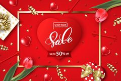 Valentine`s Day sale web banner. Top view on composition with gift box, red tulips, confetti,red sparkly hearts. Vector Stock Photos